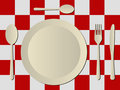 Free Cutlery In Plastic Tablecloth Stock Photo - 10815900