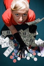 Free Blond With Cash On The Poker Table Royalty Free Stock Photography - 11715587