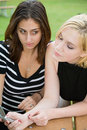 Free Friends On Cell Phone Together (Beautiful Young Blonde And Brune Stock Photo - 1323120