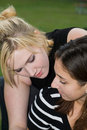 Free Friends On Cell Phone Together (Beautiful Young Blonde And Brune Stock Photo - 1323210