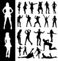 Free Silhouettes Of Active Women Royalty Free Stock Images - 13460159