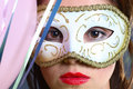 Free Brunette With Mask Closeup Royalty Free Stock Images - 1418549