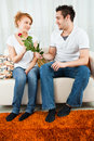 Free Young Boy Giving Red Rose To A Beauty, Young Girl Stock Photography - 14109922