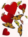 Free Butterflies Floating Around Hearts Stock Image - 17535641