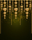 Free Background With A Gold Beads And Hearts Stock Photos - 17855063