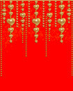 Free Background With A Gold Beads And Hearts Stock Photo - 17855080