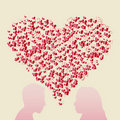 Free Abstract Heart And Couple Silhouette Stock Photo - 17895620