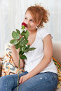 Free Beauty, Young Girl With Red Rose Royalty Free Stock Photo - 18076205