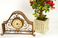 Free Rusty Clock And Roses Stock Photography - 1835902