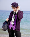 Free Style Men In Violet At The Beach. Royalty Free Stock Image - 18755126
