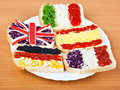 Free Sandwiches With Flags Of Five Countries Royalty Free Stock Photo - 19378185