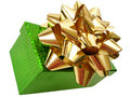 Free Golden Ribbon Tied Green Box Over White Background Stock Image - 1966901