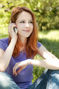 Free Girl With Mobile Phone At The Park Stock Photo - 19695060