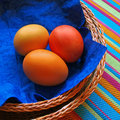 Free Three Eggs In The Baskets On Striped Fabric Stock Image - 2017201