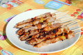 Free Cocked Pork Kabobs Grilled On Skewers Stock Photography - 23569612