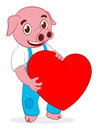 Free Happy Cute Pig With Heart Royalty Free Stock Photos - 24249818