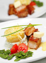 Free Tasty Meal With Pork, Potato And Vegetables Royalty Free Stock Photography - 24433777