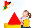 Free Little Girl Playing In The Constructor Stock Image - 24992831