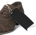Free Black Label On Man S Brown Suede Shoes Royalty Free Stock Photo - 25211035