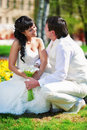 Free Happy Groom And Happy Bride In Park Stock Photography - 26168292
