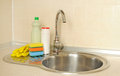 Free Detergent Bottles And Sponges Stock Photography - 26808042