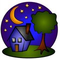 Free Nighttime Blue House Clip Art Royalty Free Stock Photography - 2776077