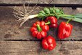 Free Red Pepper And Green Onions On A Table Royalty Free Stock Photos - 28214518
