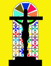 Free Black Cross On The Colorful Cristal Wall In Temple Royalty Free Stock Photo - 28537775