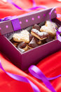 Free Heart Shaped Chokolate Cookies  In Small Box Stock Photography - 28633142