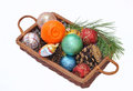 Free Basket With Christmas Items Stock Image - 28684081