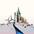 Free Isolated Modern Cityscape With Windmills And River Stock Photo - 28691780