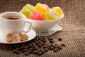 Free Cup Of Coffee, Grains On Burlap Background Stock Images - 28709954