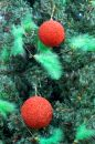 Free Two Christmas Decorations Hanging On A Xmas Tree Stock Images - 365454