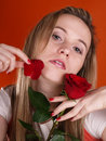 Free Girl With Red Rose Royalty Free Stock Photo - 3676795