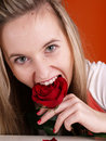 Free Girl With Rose In The Mouth Stock Photography - 3676812