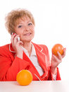 Free Attractive Mature Woman With Orange Royalty Free Stock Image - 3719896