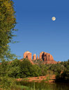 Free Cathedral Rocks With Moon Rising Stock Photography - 3927522