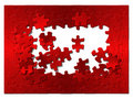 Free Puzzle From Red Metal. Royalty Free Stock Images - 3948419