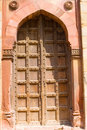 Free Old Wooden Door In Old Fort(purana Qila) Royalty Free Stock Photos - 4000368