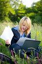 Free Happiness Woman On Grass With Documents Royalty Free Stock Photography - 4282477