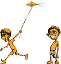 Free Sad Boy And Boy Flying Kite Royalty Free Stock Image - 4617346
