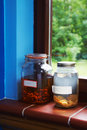 Free Jars On Window Stock Photography - 4909822