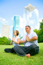 Free Couple Meditating In Downtown Stock Photography - 5884182
