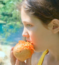 Free Fun Girl Eat Hot-dog On Nature Background Royalty Free Stock Photo - 5897615