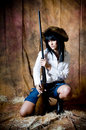 Free Farmer Girl With Shotgun Royalty Free Stock Photography - 5899037
