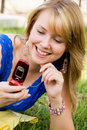 Free Pretty Girl With A Cell-phone Outdoor Stock Images - 5985464
