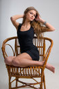Free Slim Girl On A Chair Royalty Free Stock Image - 6103406