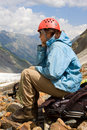 Free Mountaineer Girl In Helmet Royalty Free Stock Photography - 6191837