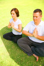 Free Two Caucasian Meditate On Grass Royalty Free Stock Photo - 6209335
