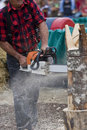 Free Chainsaw Sculptor Carving Log Sculpture Royalty Free Stock Photography - 6472747